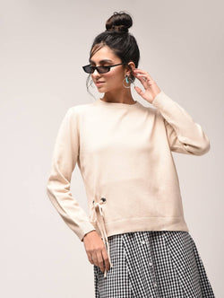 Aiyra Cream Color crew neck eyelet lace up sweatshirt $ AR15900917