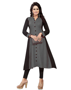 Muta Fashions Women's Semi Stitched Casual Crepe Grey Kurti $ KURTI351