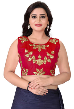YOYO Fashion Red Silk Embriodered Extra Sleeve With Blouse $ BL4001-Red