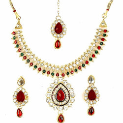 Gold Plated Alloy Metal Hand Crafted Work Women's Red Manukunj Necklace Set $ AF788628