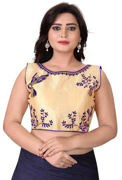 YOYO Fashion Beige Malbari Embriodered Extra Sleeve With Blouse $ YOYO1-BL4009-Blue