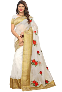 YOYO Fashion New Latest Poli Net White Embroidered Saree With Blouse $ YOYO-SARI2634