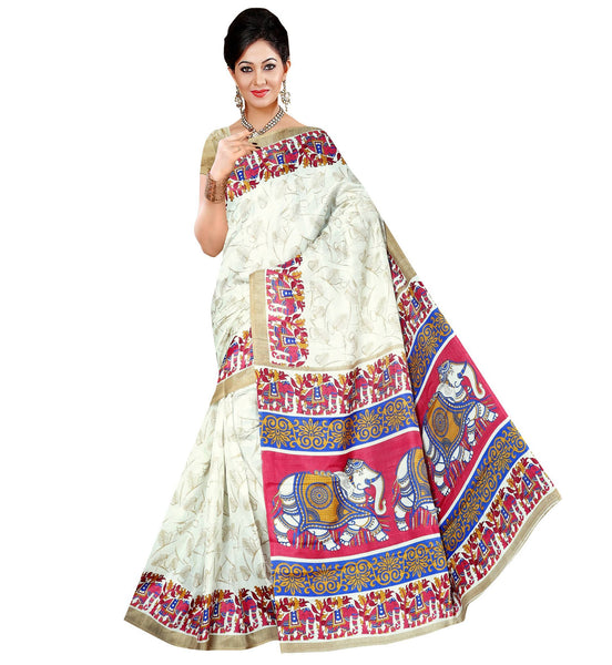 BL Enterprise Women's Bhagalpuri Cotton Silk White Color Saree With Blouse Piece $ BLLB-58