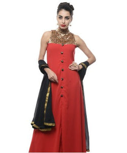 DRAPES & SILHOUETTES Semi Stitched Gown With Dupatta