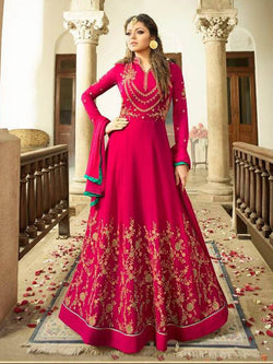 YOYO Fashion Latest Fancy Semi-stitched Faux Georgette Embroidered Anarkali Salwar Suit  $F1253