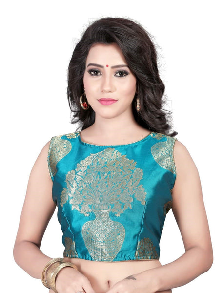 Pavitra Creation Designer Turquoise Party&Festive wear Jacquard work Readymade Saree Blouse AFB-3 $ AFB-3