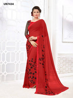 Umang NX Red Georgette Designer Digital Printed Sarees $ UN7434