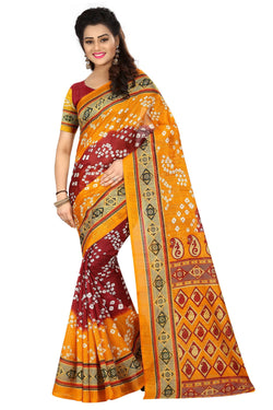 16TO60TRENDZ Yellow Color Printed Bhagalpuri Silk Saree $ SVT00432