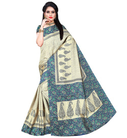 BL Enterprise Women's Bhagalpuri Cotton Silk Blue Color Saree With Blouse Piece $ BLLB-53