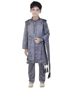 Soundarya Silk Cotton Blend Grey Embellished Sherwani and Churidar