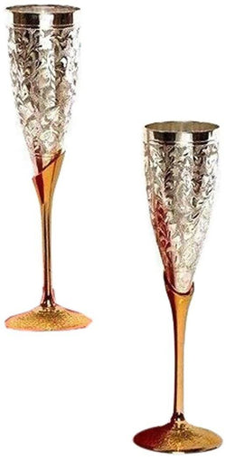 International Gift German Silver Wine Glass Set/Wine Goblet (Set of 2 Pieces) with Beautiful Red Velvet Box Packing Exclusive Gift for Diwali Gift Items and Wedding Gift Items $ SKU - 113