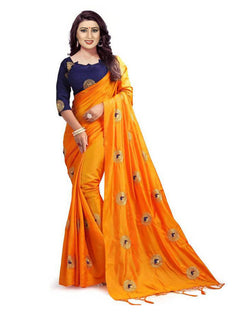 Muta Fashions Women's Unstitched Bangori Silk With Embroidery Yellow Saree $ MUTA1657
