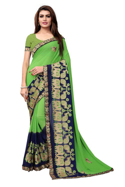 YOYO Fashion Embroidered Georgette Green Saree With Blouse $ SARI2614-Green