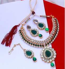 Gold Plated Alloy Metal Hand Crafted Work Women's Green Manukunj Necklace Set $ AF788627