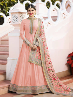 YOYO Fashion Semi-stitched Sana Silk Embroidered Anarkali Salwar Suit $YO-F1214-Peach