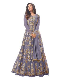 YOYO Fashion Latest Fancy Semi-stitched  Net Embroidered Anarkali Salwar Suit Gown$F1211-Grey