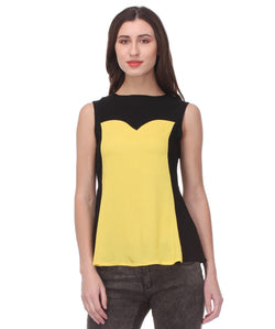 Glam a gal yellow and black s/l top