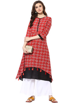 Mytri Women's Red & Black Cambric Printed High Low Kurta $ 9000498-REDBLACK
