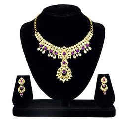 Tanishka Fashions Gold Plated Purple Kundan Necklace Set