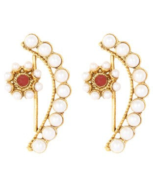 Adoreva Red White Gold Plated Pearl Bollywood Fashion Designer Earrings and Girls
