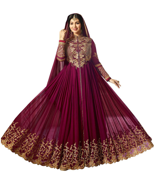 YOYO Fashion Designer Faux Georgette heavy Embroidred and Hand work Anarkali Suit $F1194