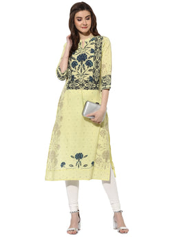 Mytri Women's Yellow & Blue Cambric Printed Straight Kurta $ 9000482-YELLOWBLUE