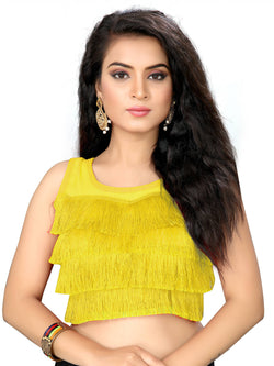YOYO Fashion Yellow Silk Solid Blouse & YO-BL4010-Yellow