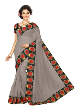 16to60trendz Grey Chanderi Lace Work Chanderi Saree $ SVT00255