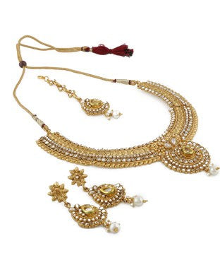 Aradhya Brass, Stone, Metal Jewel Set (Gold, White, Red)