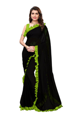 YOYO Fashion Georgette Plain Black saree with Blose $ SARI2654-Parrot Green
