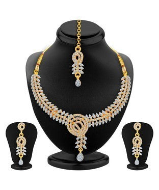 Sukkhi Resplendent Gold & Rhodium Plated AD Necklace Set For Women