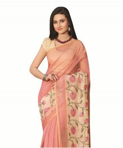 Laethnic Pink-Cream Supernet Checks Saree
