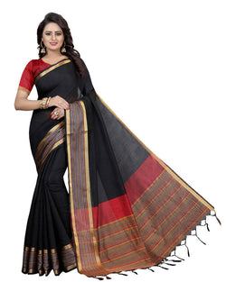 Muta Fashions Women's Unstitched Cotton Polyester Silk Black Saree $ MUTA1470