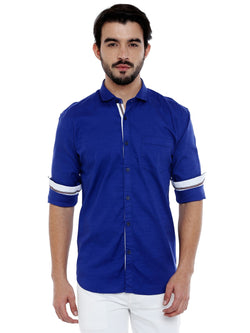 Roller Fashions Men's Solid 100% Cotton Slim Fit Casual Royal Blue Shirt $ OXRB03-P
