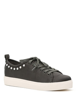 London Rag Women Grey Metallic Pearl Lace Up Sneakers $ SH1587