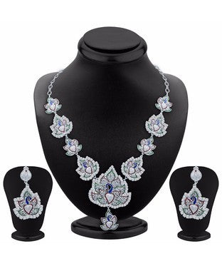 Sukkhi Fashionable Rhodium Plated AD Necklace Set