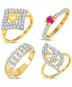 Sukkhi Valentine Collection Artistically Gold & Rhodium Plated CZ Combo With Rose Box For Women Pack Of 4