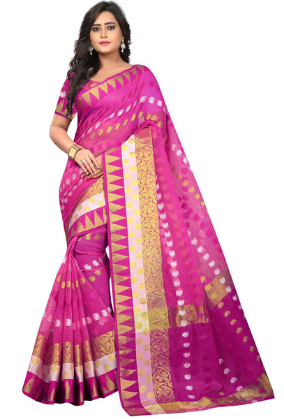 YOYO Fashion Polyester Pink Embroidered Saree With Blouse $ YOYO-SARI2633