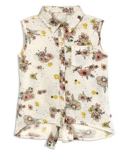 Budding Bees Off White Bottom Knotted Shirt Dress