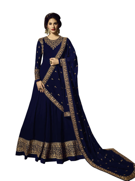 YOYO Fashion Georgette Anarkali Semi-Stitched salwar suit $ F1295-Blue
