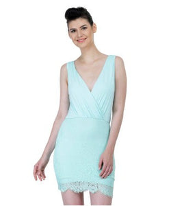 Embrioded Sea Green colored Shift Dress