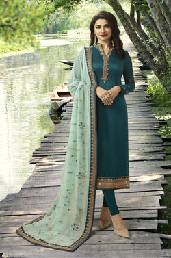 YOYO Fashion Green Georgette Straight Semi-Stitched Salwar Suit With Dupatta $ F1282