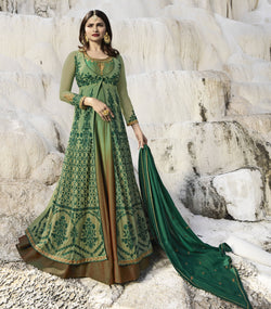 YOYO Fashion Nylon Net C-Green Embroidered Semi-stitched Anarkali Salwar Suit $ YO2-F1260