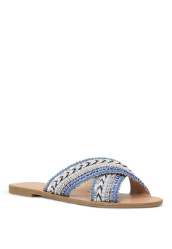 London Rag Women's Blue Cross Strap Glamrous Flat Embellished Sandals $ SH1570