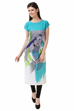 Manvi Fashion Women's Designer Partywear Blue Color American Crepe Fabric Digital Printed Readymade Kurti $ MF 2813