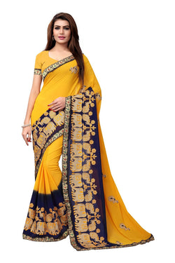 YOYO Fashion Embroidered Georgette Yellow Saree With Blouse $ SARI2614-Yellow