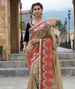 Grey Silk Embroidery Saree with Blouse