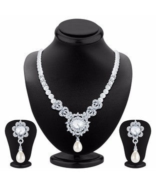 Sukkhi Modern Rhodium Plated AD Necklace Set
