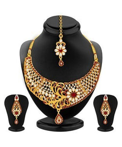 Sukkhi Blossomy Gold Plated AD and Kundan Necklace Set For Women