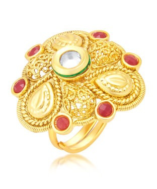 Sukkhi Modern Gold Plated Maroon Studded Stone Ring For Women